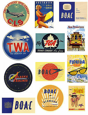 12 Reproduction Vintage Luggage Suitcase Labels Stickers - Airline No.2
