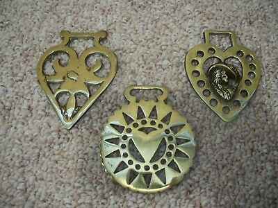 Vintage Horse Brass Medallion Lot Of Three Heart Themed Made In England