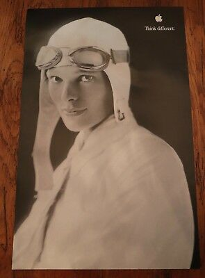 Vintage Apple Poster-Think Different-Amelia Earhart