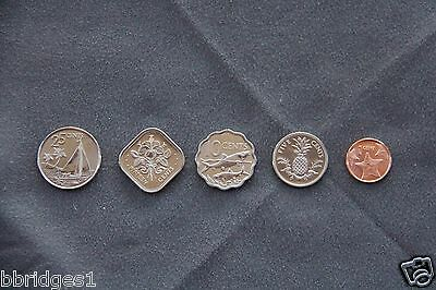 Bahamas 5 Coin Set 1 5 10 25 and Rare 15 Cent - UNC