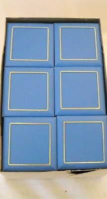 12 LOT Blue Plastic Square Jewelry Display Gift Boxes W/ Inserts