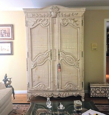 Large French Style Ornately Carved Entertainment Armoire  Wardrobe