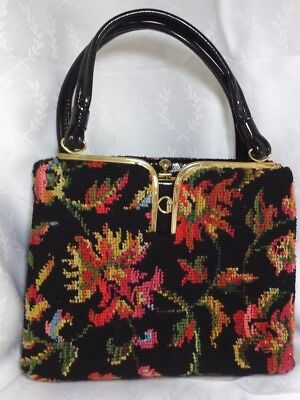 Dova USA Vintage Black Floral Needlepoint Tapestry Purse Handbag