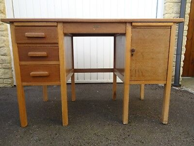 VINTAGE LIGHT OAK DESK  1960's Good condition for age (collection only)