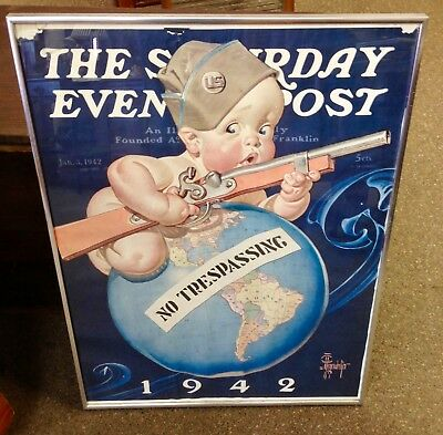 """Jan 3,1942 - NEW YEARS BABY SOLDIER Saturday Evening Post - 27 1/2"""" x 21"""" POSTER"""