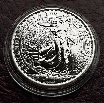 (E18) UK BRITISH 2015 SILVER 1oz BRITANNIA BULLION £2 TWO POUNDS COIN B/UNC