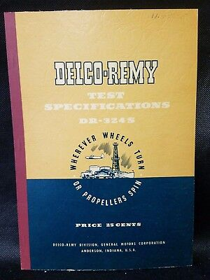 Vintage / Original 1950 Delco-Remy Test Specifications Manual Booklet DR-324S