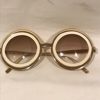 Renauld Round Sunglasses - Gold Frame with White Around Lenses - Vintage