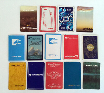 Vintage Airline Playing Cards LOT OF 14 Single TWA Pan Am Qantas United Western