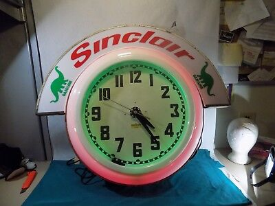 "Large 26"" Electric Neon Clock Co Cleveland with Original Metal Marquee & Mount"
