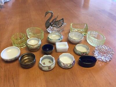 Antique & Vintage Salt Cellar Collecton Lot Silver Sterling Vaseline Open Dips