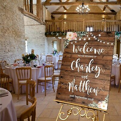 Personalised Wedding Welcome Sign  A1 / A2 / A3 Sizes -RUSTIC WOOD LOOK