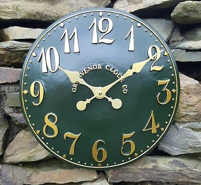 Outdoor indoor Green Garden Wall Clock  Hand Painted church clock 30cm