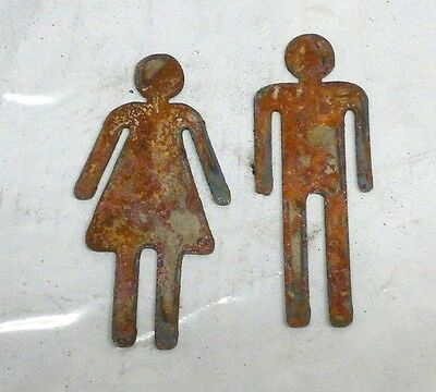 Lot of 2 Man Woman Restroom Male Female 3 inch Shape Rusty Metal Vintage Craft