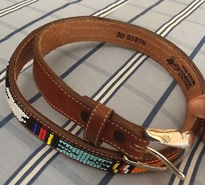 """Justin Western Hand Beaded Men's Leather Belt #513TN Made in USA 30"""" Pre-Owned"""