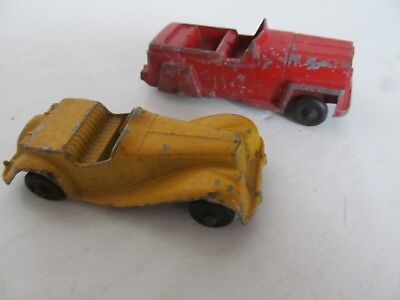 Lot of Two old TOOTSIETOY Vehicles - 1954 MG TF Roadster & 1947 Jeepster