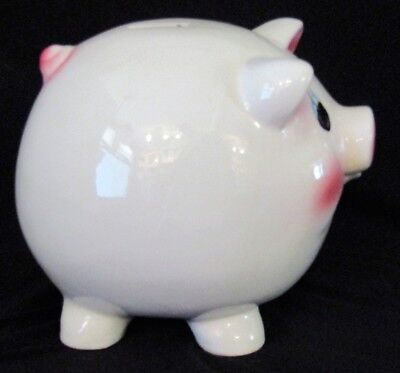 Vintage CLASSIC Large Ceramic PIGGY Coin BANK White With Pink Face Ears Tail