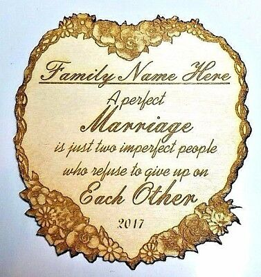 Personalized WOOD WEDDING Family Name Heart Floral LASER Engraved Anniversary