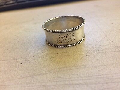 Antique Vintage Towle  Sterling Silver Beaded Napkin Ring Holder # 131