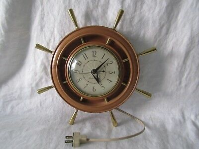 Vintage General Electric Nautical Wall Clock Ships Wheel 1960 -1970s Model 2H67