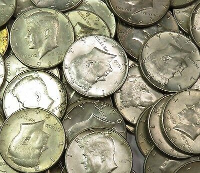 20 1964 Kennedy Half Dollars 90% SILVER $10 FACE FULL ROLL US Coin Lot #15820X