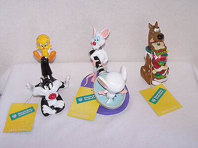 3 Vtg Bobbleheads WB 1998 Scooby Doo, Tweety and Sylvester, Pinky and the Brain