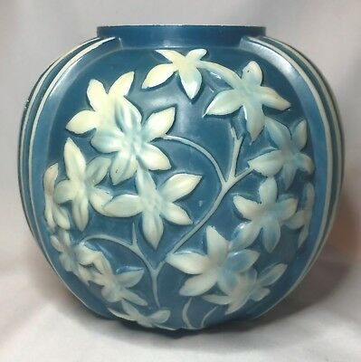 Phoenix Consolidated Glass Star Flower Vase - Slate Blue on Opaque White