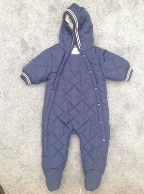 Baby Boys Next Navy Blue Quilted All In One Snowsuit Coat Size 0-3 Months Jacket
