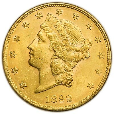 1899 $20 Liberty Head Gold Double Eagle, Large Uncirculated Coin [3484.03]