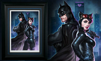Batman Catwoman Premium Art Print By Sideshow Collectibles # 1 / 300 - Framed