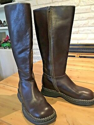 bd4ef8d0de6 Women s BORN Tall Brown Leather Riding Boots Wide Calf Side Zip New w o box