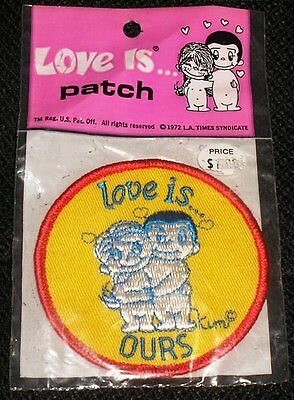Love Is... OURS Sew On Embroidered Patch Kim Casali Couple Cartoon 1972 DARLING!