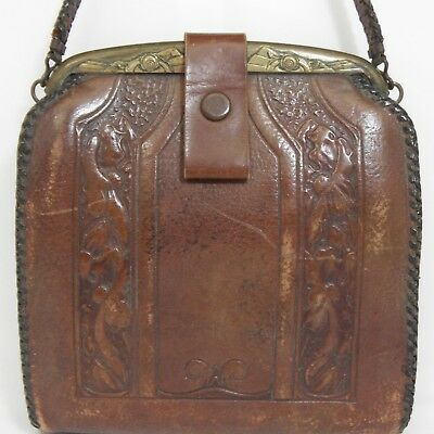 vintage ca. 1920 Art Nouveau leather JEMCO handbag