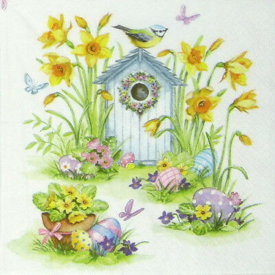4x Paper Napkins - Birdhouse & Easter Eggs - for Party, Decoupage Craft