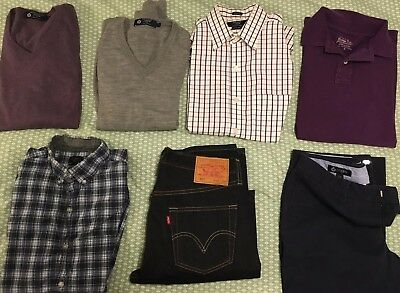 J. Crew BUNDLE Mens Small Sweater, Shirt, Polo, Chinos, Levi's Jeans Great Shape
