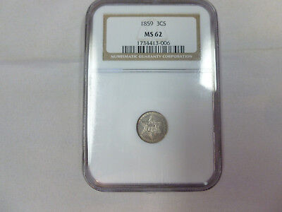 1859 Ngc Ms62 3 Cent Silver