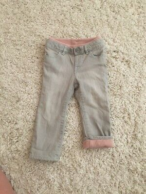 Warm Baby Gap Pink Fleece Lined Gray Skinny Jeans Size 18–24 Months 1969