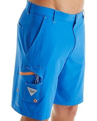 Columbia PFG Fishing Mens Shorts  New  Sz 40  Omni-Shield  Blue  Reel  Rod  Lure