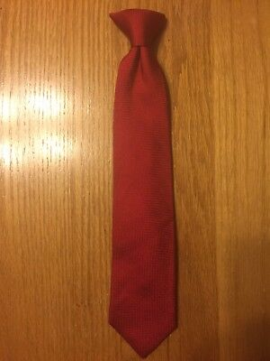 "Boys 14"" Chaps Clip On Neck Tie Red 100% Silk Youth Neck Tie"
