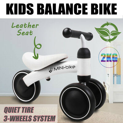 Kids Balance Bike Toddler Push Scooter Baby Walker Tricycle 3 Wheel Leather Seat