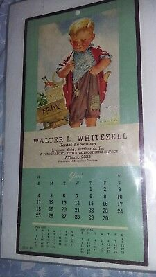 Vintage 1950 Calendar WALTER L. WHITEZLL-DENTAL Laboratory Pitts. Pa Advertising