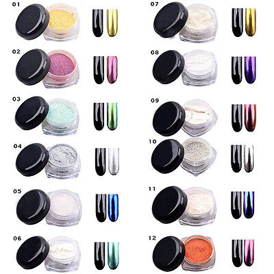 12Colors 2 g/box brillo espejo cromo efecto polvo brillo Nail Art polvo