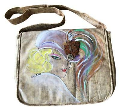 Large Vintage Amy Friedman Hand Painted Embellished bag, One of a Kind