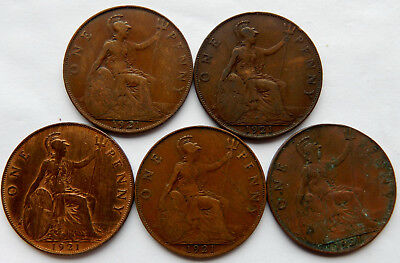 "1921 UK / Great Britain One Penny Coin ""Lot of 5 Coins"" #2   SB5044"