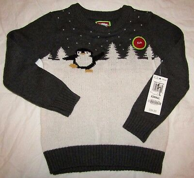 NEW Christmas Holiday Arcade Boys/Girls Penguin Sweater Charcoal Gray XS 4 NWT
