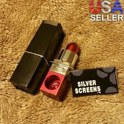 NEW Small Red Metal Lipstick Smoking Pipe Tobacco Herb Portable Pocket Size