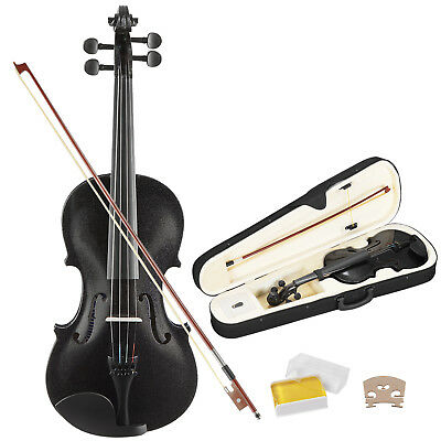 4/4 Full Size Violin Handed Natural Acoustic Fiddle w/case Bow Black Beginner