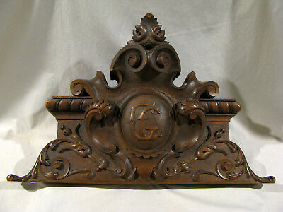 Antique CARVED WALNUT PEDIMENT WITH MONOGRAM CREST