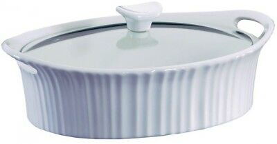 CERAMIC CASSEROLE DISH 2.5 Qt Oval Heavy Duty Bakeware Baking French WITH LID