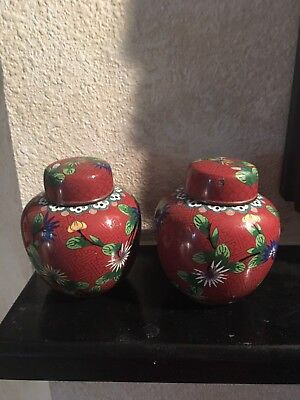 Pair of Matching Antique Chinese Cloisonne Ginger Jars